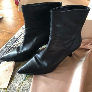 Black leather Prada boots (booties)